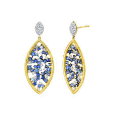 Sloane Street 18K Yellow Gold .52cts  Diamonds Gold Earrings with Stones E254T-GBSBR-WDCB-Y