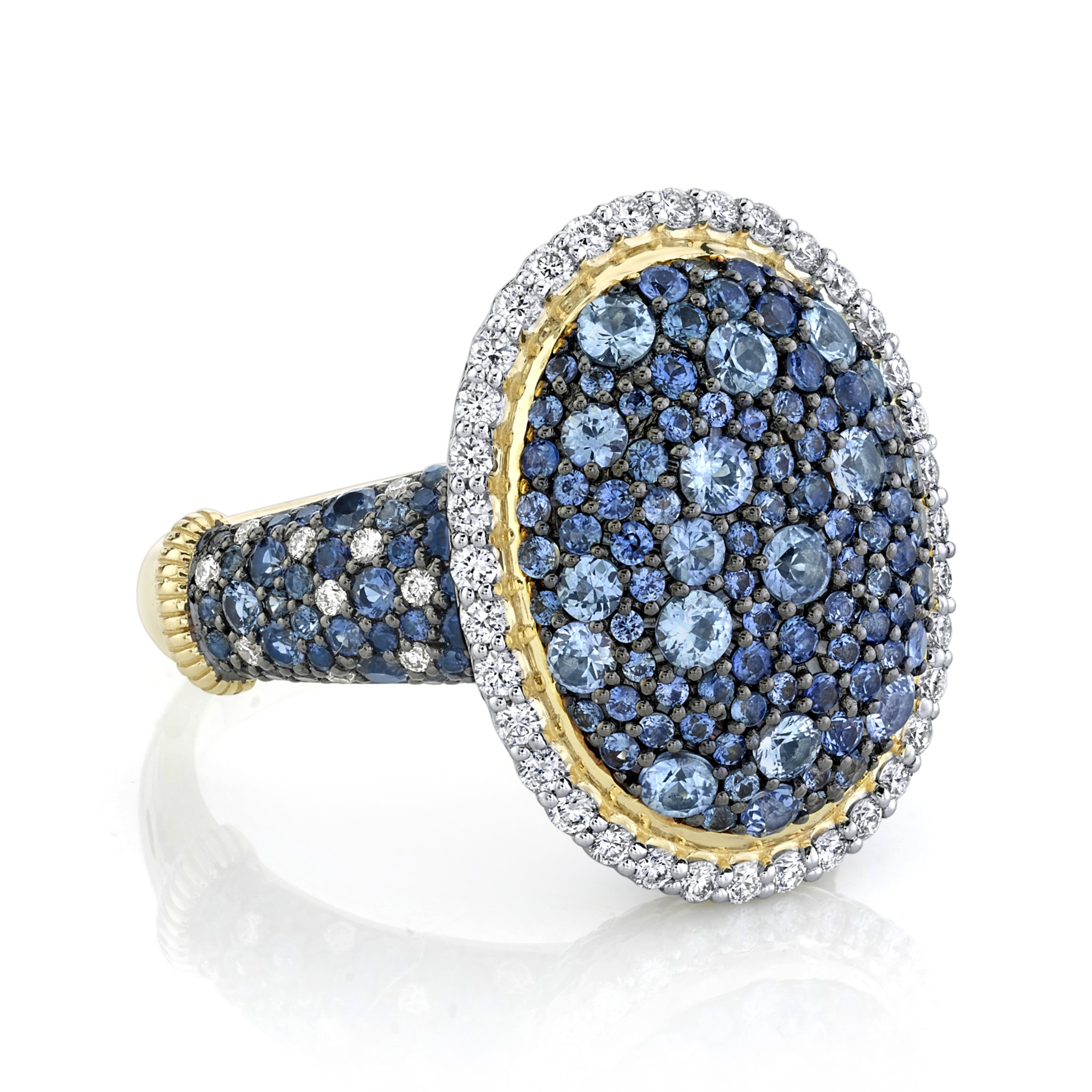 Sloane Street 18K Yellow Gold .79cts  Diamonds Gold Ring with Stones R039F-GBSBR-WDCB-Y