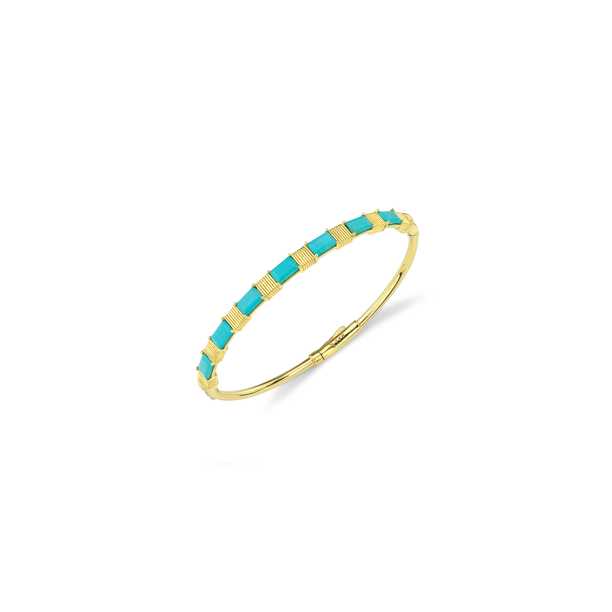 Sloane Street 18k Yellow Gold 2.90cts  Turquiose Gold Bangle with Stones B020F-TQ-Y-7