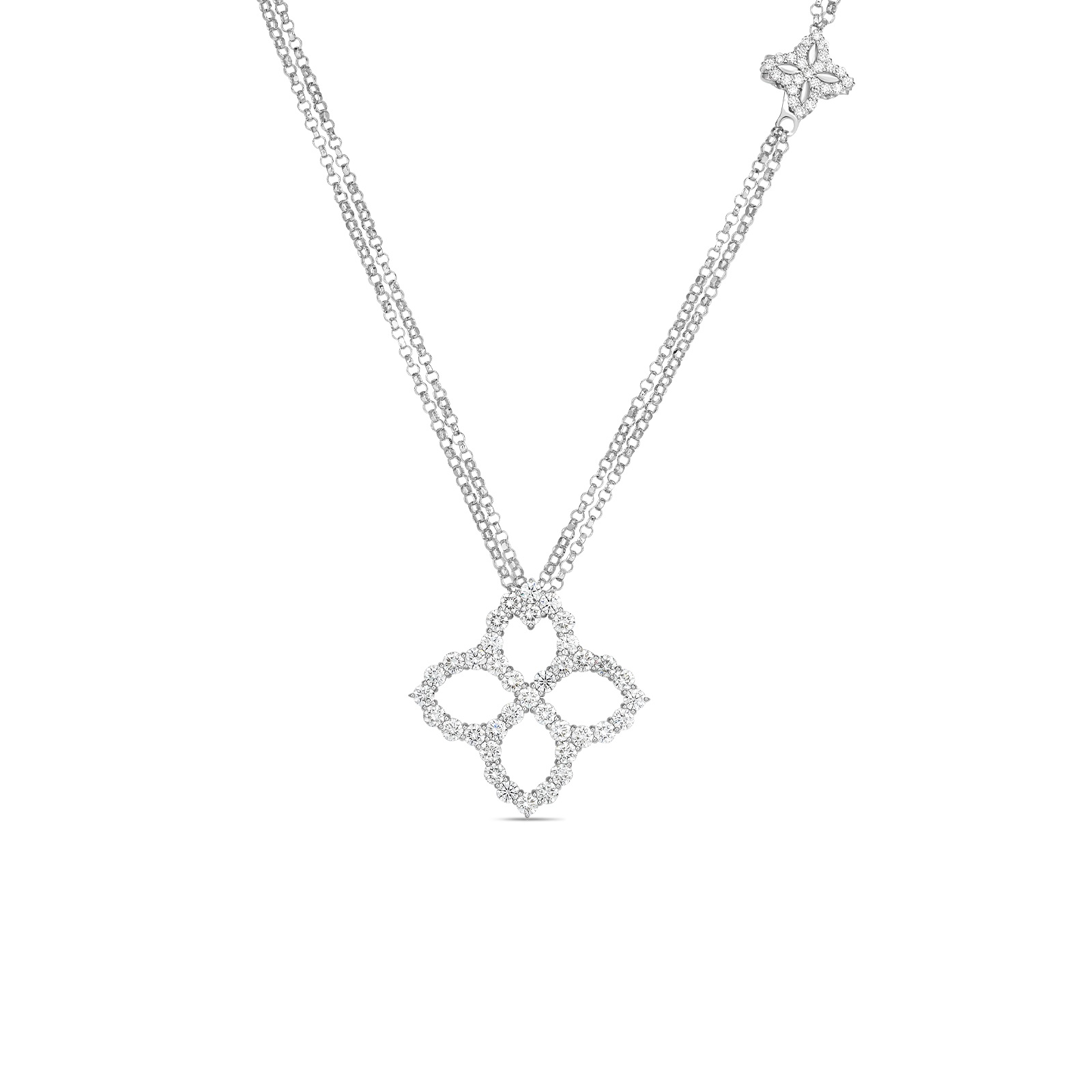 Roberto Coin 18K White Gold 2.79cts  Diamonds Gold Necklace with Stones 8882790AW33X