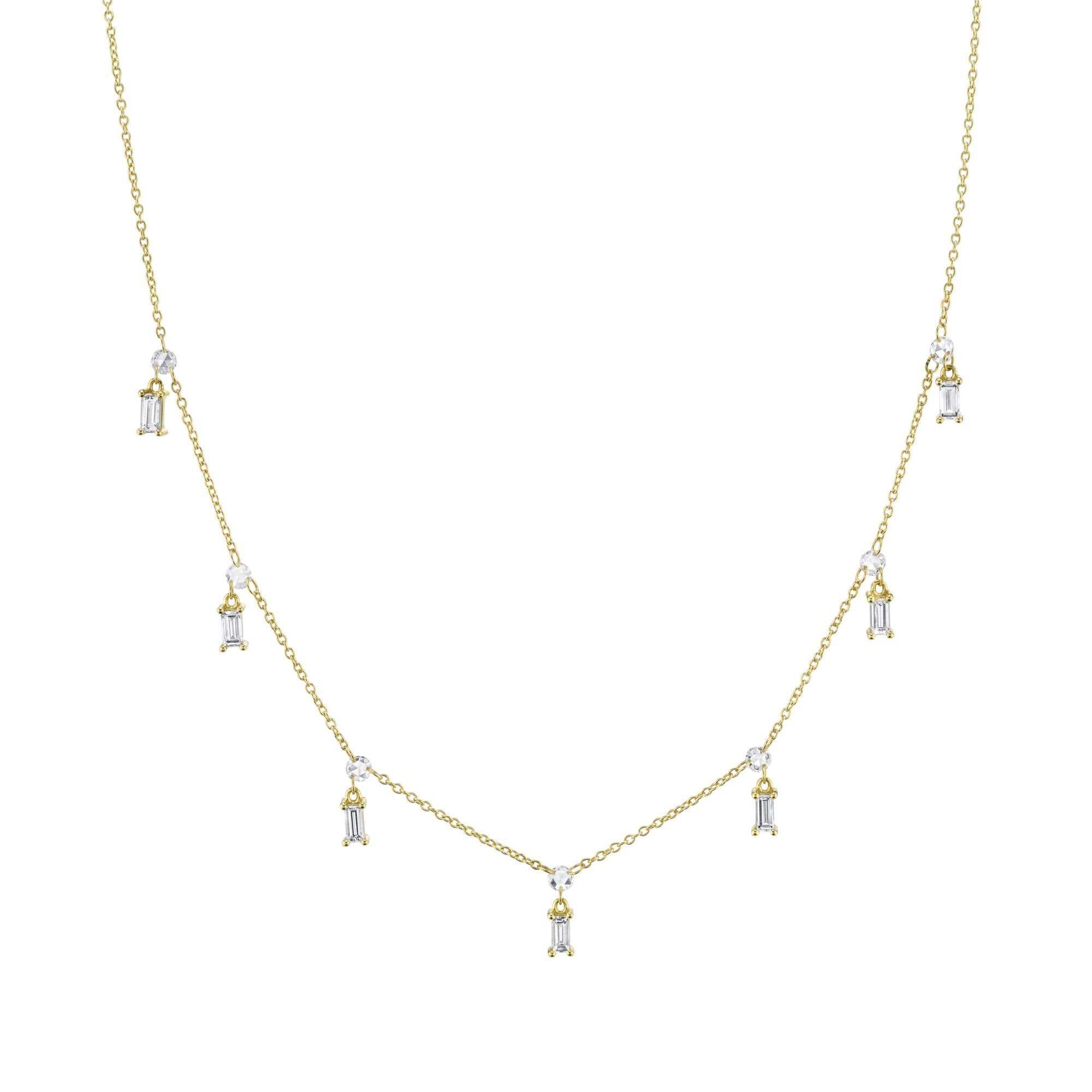 Sloane Street 18K Yellow Gold 1.002cts Enh:N  Diamonds Gold Necklace with Stones CH013F-WDCB-Y-18-16