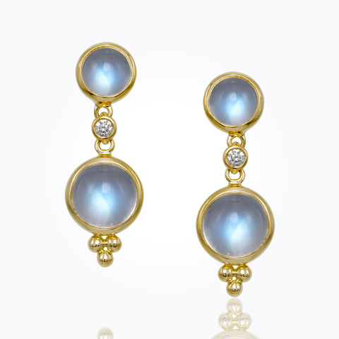 Temple St. Clair 18K Yellow Gold .07cts  Diamonds Gold Earrings with Stones E41420-BMDRP