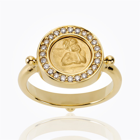 Temple St. Clair 18k Yellow Gold .20cts  Diamonds Gold Ring with Stones AR8-PAVE