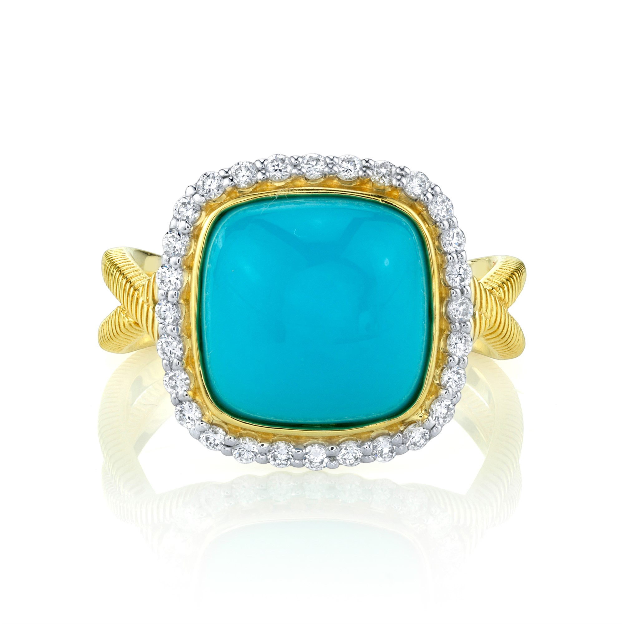 Sloane Street 18K Yellow Gold   Turquoise Gold Ring with Stones R012-TQ-WDCB-Y